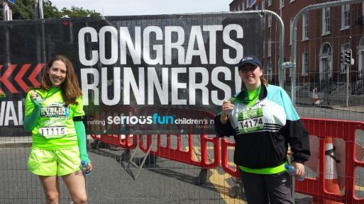 My sister and I at the end of the Rock 'n' Roll Dublin Half, August 5th